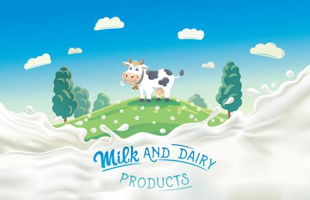 Vaca en un estilo de dibujos animados y chorrito de leche. Ilustración de vector
