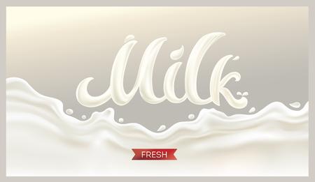 Spruzzare il latte su sfondo bianco Vettoriali