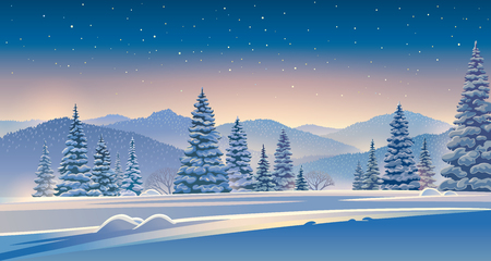 Winter evening landscape with snow-covered trees. Illustration