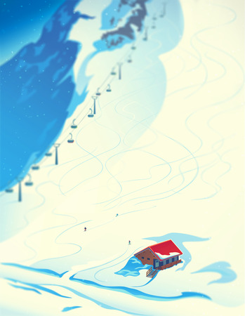 Winter landscape with slope for skiing