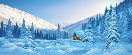 Winter mountain landscape with a hut, dawn in the mountain forest.
