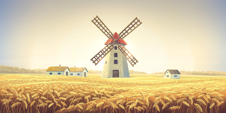 Rural autumn landscape with windmill and wheat field. Imagens