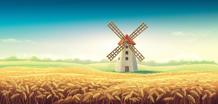 Rural summer landscape with windmill and wheat field.