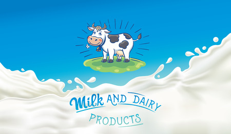 Cow drawn in a cartoon style and splashes of milk. Ilustração