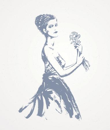 Meisjeshanden die haar handen trekken, grafische vectorillustratie. Vector Illustratie