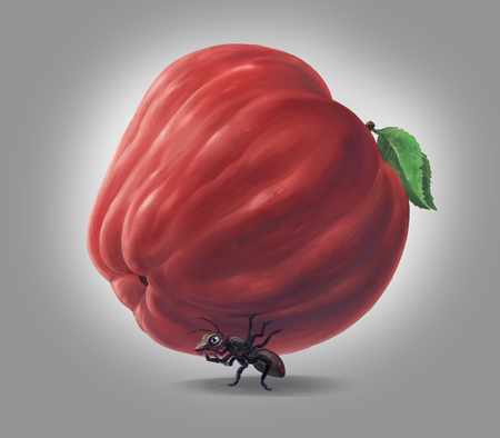An ant carrying a heavy burden, resembling an Apple. Symbolic image, raster illustration. Imagens