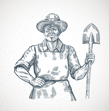 Happy farmer holding a shovel in his hands. Illustration in engraving style.