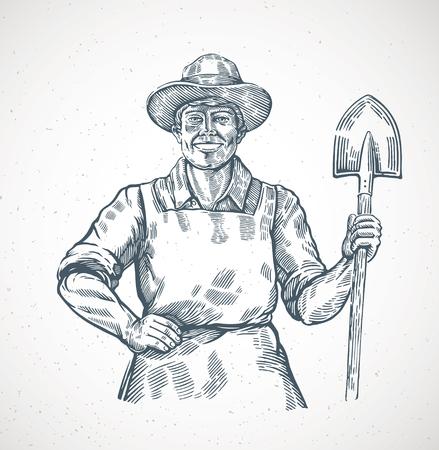 Szczęśliwy rolnik trzymający w rękach łopatę. Ilustracja w stylu grawerowania.