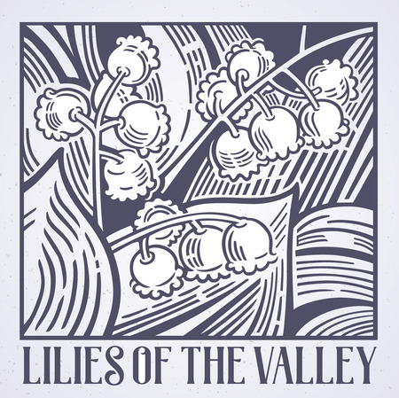 Flowers lilies of the valley in graphic style