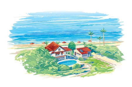 Summer landscape with the sea. Illustration
