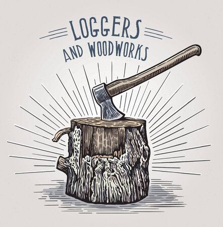 Ax in a wooden stump, illustration in a graphic style
