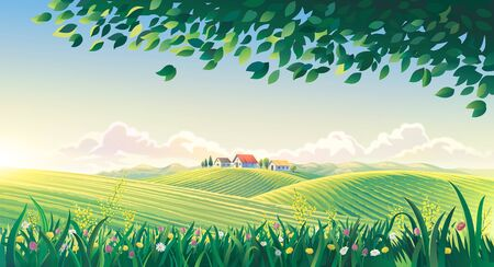 Rural summer landscape with flowers in the foreground. Raster illustration.