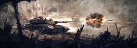 Disparando al enemigo. (Arte conceptual, pintura digital) Foto de archivo
