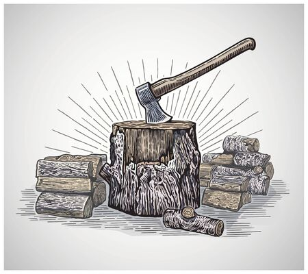 Ax in a wooden stump surrounded by chopped logs, illustration in a graphic style and painted in color Ilustração