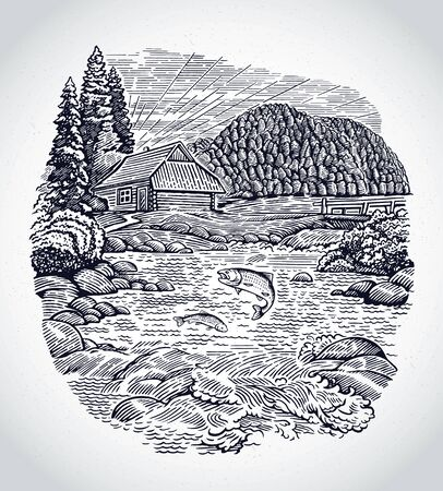 Rural landscape with the hut, in graphic style, with a mountain river and fish in it. Ilustração