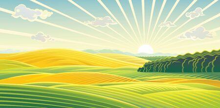 Paysage rural avec aube sur champs et collines.
