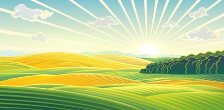 Rural landscape with dawn over fields and hills. Raster illustration.