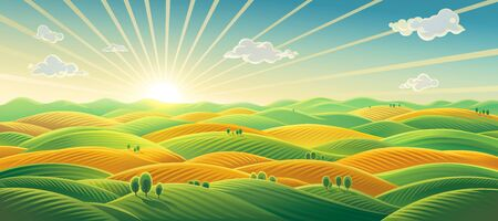 Panoramic rural landscape, sunrise over fields and hills. Raster illustration.