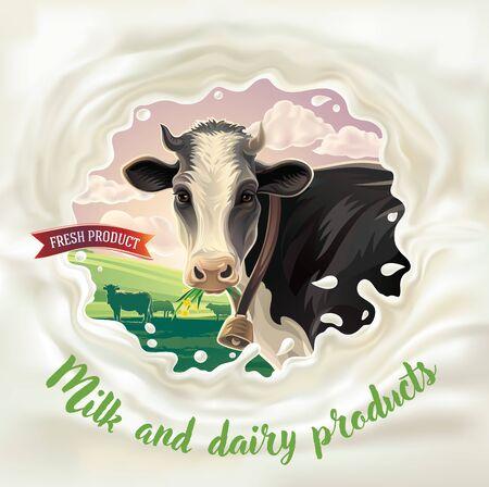 Cow, in frame from splashes of milk against the background of a rural landscape. Ilustração
