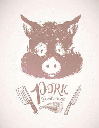 Pigs head, graphic silhouette image, with additional design elements the inscription, of the pigs knuckle and knives. Иллюстрация