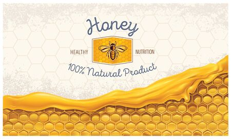 Honeycombs with honey, and a symbolic simplified image of a bee as a design element on a textural background.