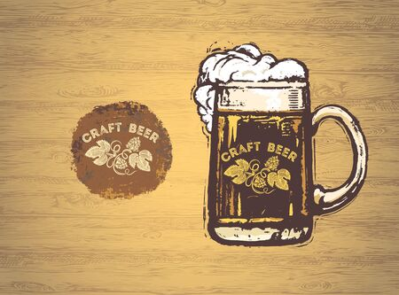 Mug with beer, in grunge or graphical style, on a wooden wall texture background. Ilustração