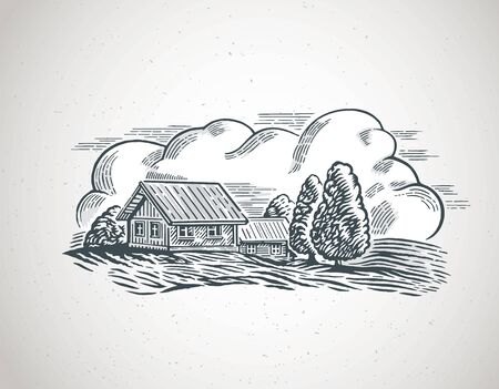 Graphical illustration of a countryside landscape, with houses and trees. Ilustração
