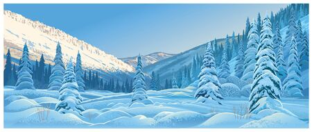 Winter mountain landscape with snowdrifts and snowy fir trees.