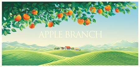 Rural landscape with mountains and hills as well as with a branch of an apple tree in the foreground. Ilustração