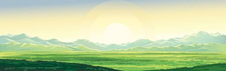 Summer mountain landscape, dawn over the valley, elongated format.