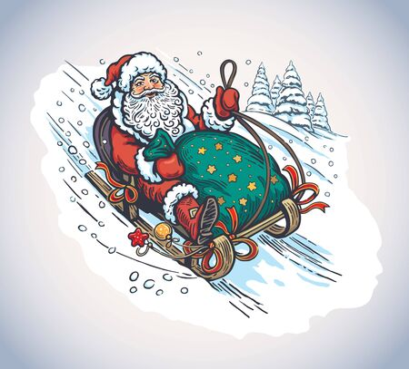 Surprised and scared Santa Claus with gift bag, rides the mountain on a sleigh.