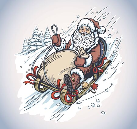 Surprised and scared Santa Claus with gift bag, rides the mountain on a sleigh. Imagens - 135008107