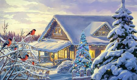 Winter rural landscape with festive Christmas fir tree and bullfinches. Imagens - 135008136