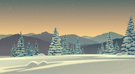 Winter night landscape with snow covered trees spruce and snow drifts in the foreground. Raster illustration.