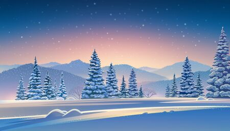 Winter evening landscape with mountains and snow-covered trees in the foreground. Raster illustration. Imagens - 135008140