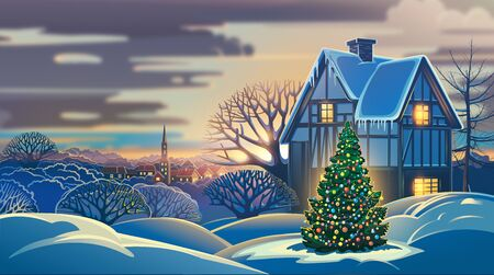 Festive winter landscape with a village and decorated Christmas tree. Raster illustration.