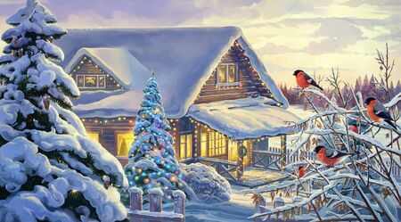 Winter rural landscape with festive Christmas fir tree and bullfinches.