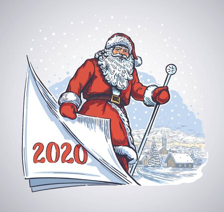 Cheerful santa turning a page, symbolic of a the portrayed time of the past year, and the coming next.