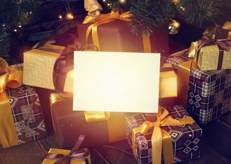 Festive still life with a blank white sheet as a template for an greeting inscription Imagens - 135008160
