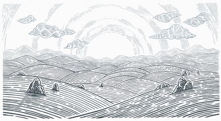 Hilly landscape, sunrise above mountains and hills in graphical style. Illustration