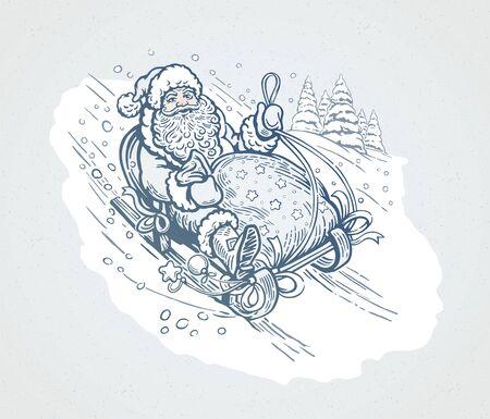 Happy Santa with gift bag, rides sledding down the mountain