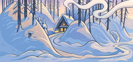 Winter forest landscape with hills and forest hut.