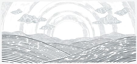 Hilly landscape, sunrise above mountains and hills in graphical style. Ilustração
