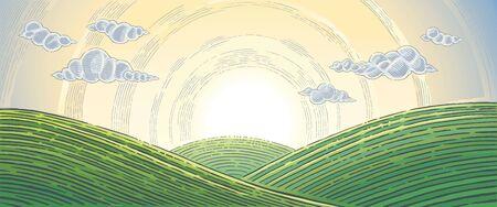 Hilly landscape, sunrise above hills in graphical style. Ilustração