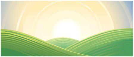 Hilly landscape, sunrise above hills. Illustration