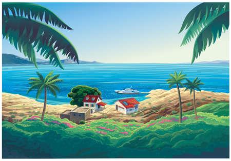 Summer seascape with a house and a beach on the sea beach.
