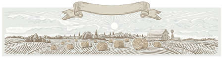 Autumn rural landscape panoramic format with a farm and bales of hay. Hand drawn Illustration in engraving style. Stock fotó - 155370910