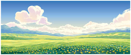 Summer rural landscape with blooming glade with dandelions in the foreground.