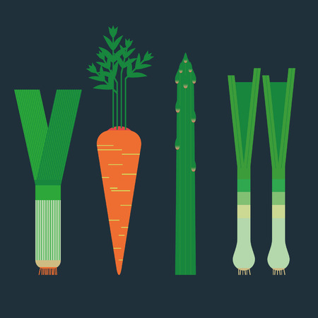 greens: Fresh spring root vegetables and greens. Illustration