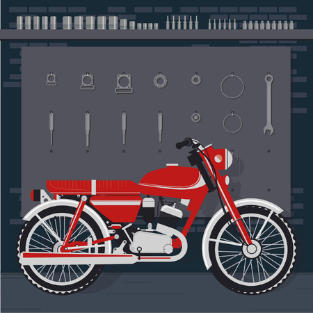 pegboard: Retro motorcycle in garage against pegboard with tools and instruments, vector illustration.